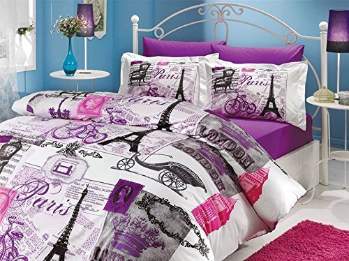 100 Cotton 5pcs Paris Purple Full Double Size Comforter Set Eiffel Vintage Theme Bedding Linens -