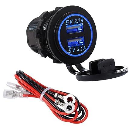 YGL Impermeable Cargador dual USB Toma de corriente 2.1A y 2.1A para 12V / 24V Coche Barco Marina Camión Vehículo Motocicleta(azul)