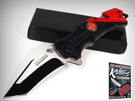 Amazon.com: TAC-FORCE – Cuchillo para bomberos rojo con ...