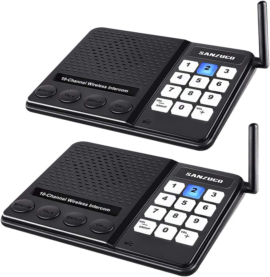 Wireless Intercom System for Home,Sanzuco Wireless Intercom System 1 Mile Range for Office, 10 Channel 3 Private Code Room to Room Intercom (2 Packs)