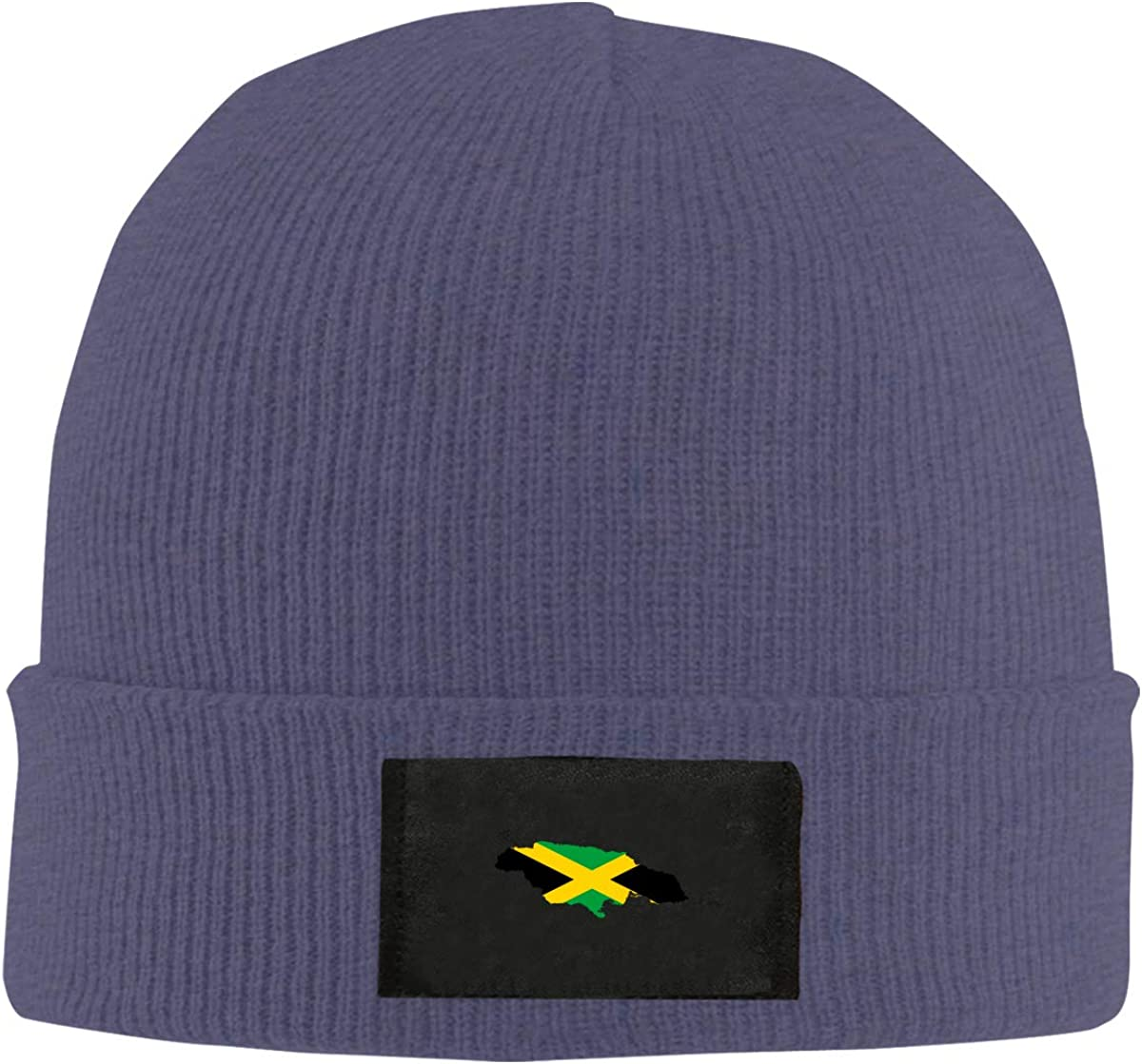 LRHUI Jamaica Flag Map Winter Knitted Hat Warm Wool Skull Beanie Cap