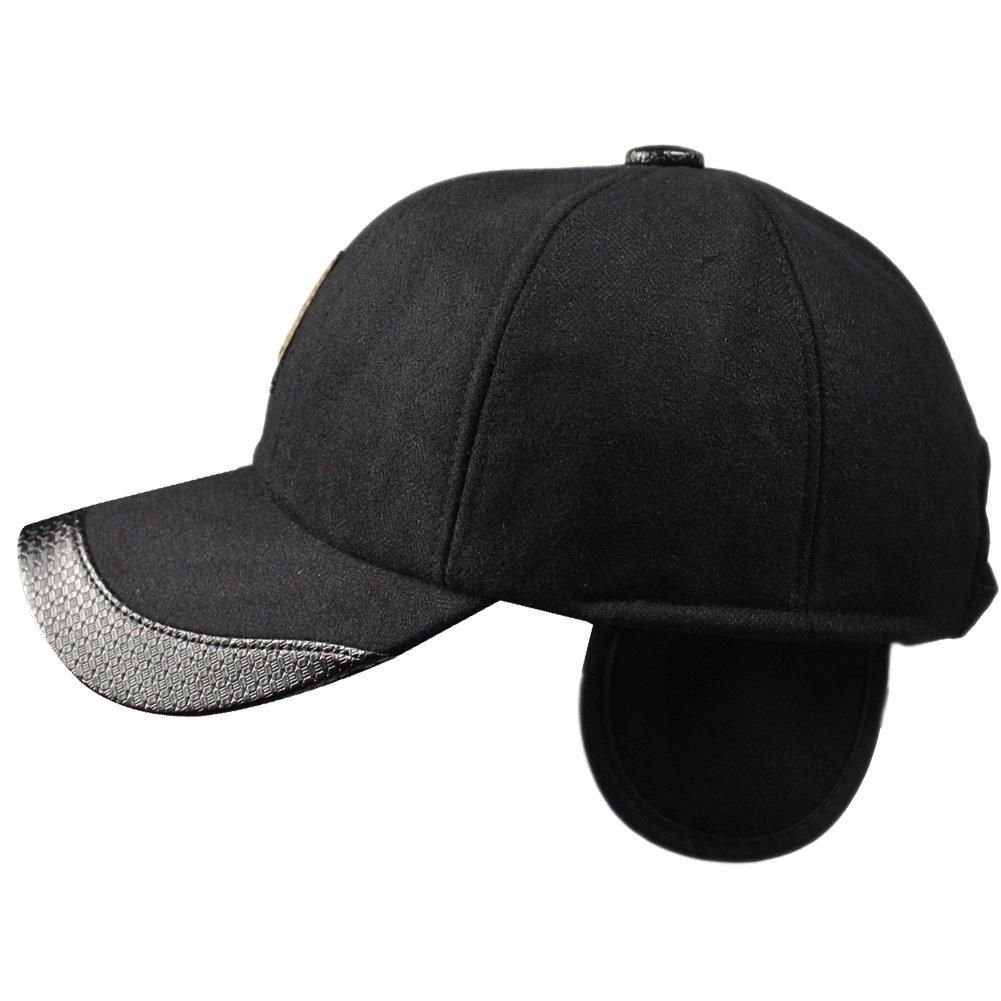 329f2576ffd Amazon.com  eYourlife2012 Men s Winter Warm Wool Woolen Tweed Peaked  Baseball Cap Hat with Earmuffs Warmer  Clothing