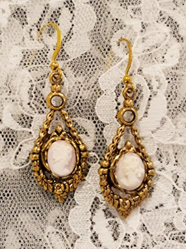- Victorian Style Cameo Earrings Real Carved Pink Shell