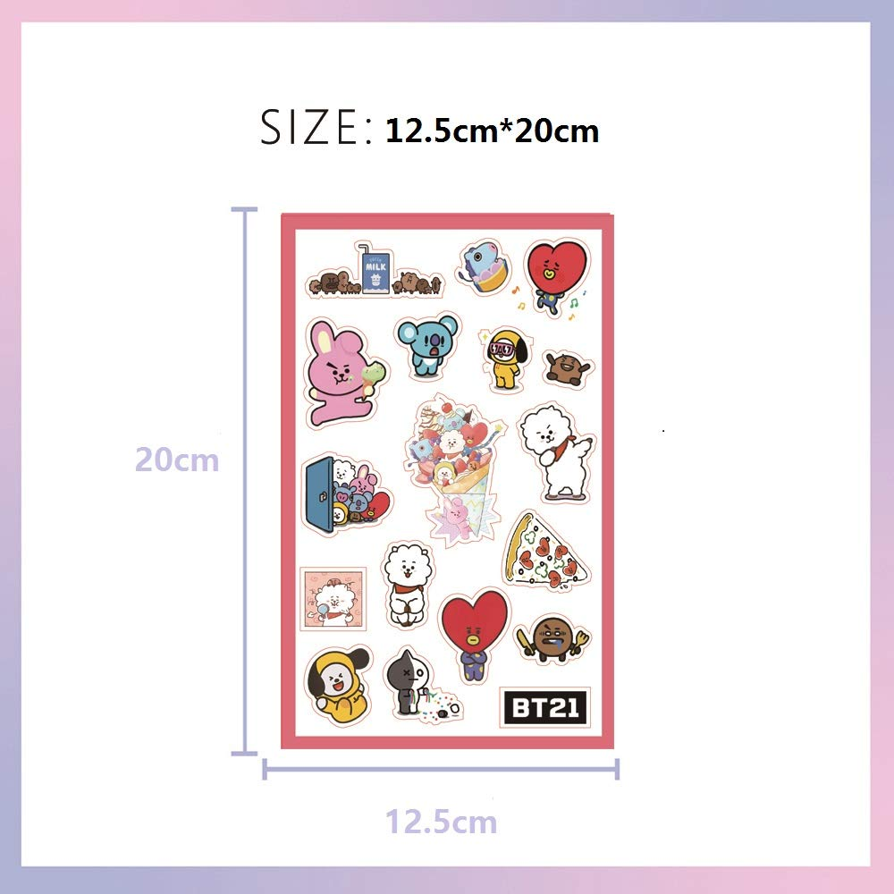 BTS Stickers and Facial Decals Paper Doll Sticker Pack Set for Phone Car Pad Laptop Water Bottles,Bangtan Boys Gift Set for Army by KPOPBTS (Image #2)
