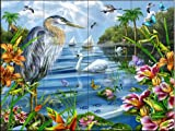 Ceramic Tile Mural - Blue Heron and Friends - by Lori Schory - Kitchen backsplash / Bathroom shower