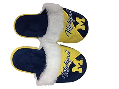 0402b5a4136f Image Unavailable. Image not available for. Color  FC Michigan Wolverines  Women s Team Logo Cursive Colorblock Slipper ...