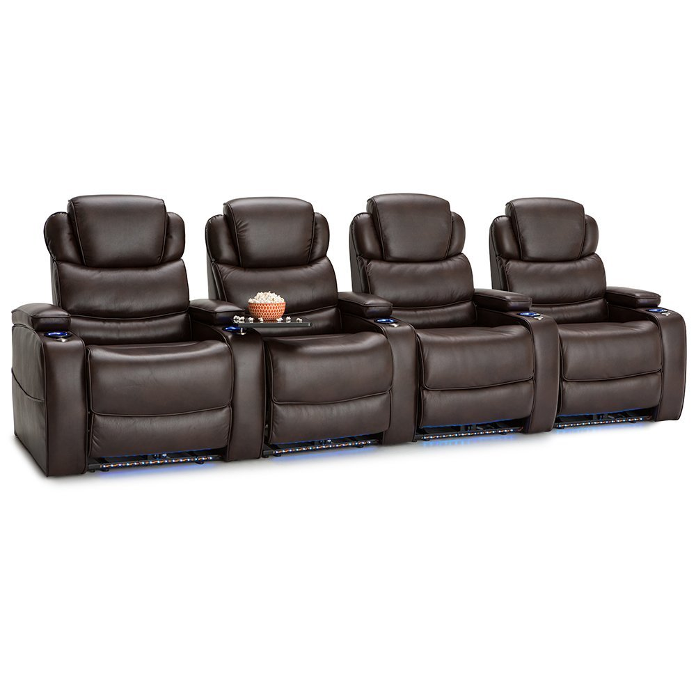 Barcalounger Columbia Leather Gel Home Theater Seating Chairs Power Recline - (Row of 4, Brown)