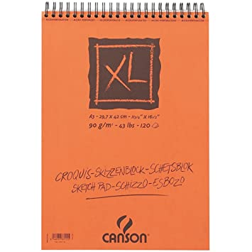 0a9643d32 Canson 948123 - Cuaderno de dibujo en espiral A3, 120 hojas