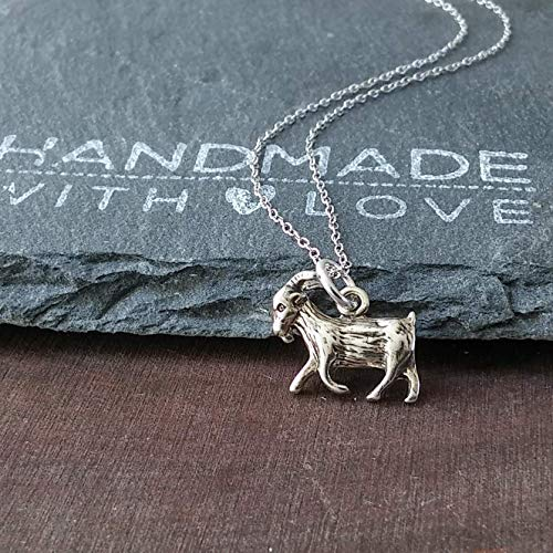 - Sterling Silver Small Goat Charm Pendant Necklace, 18