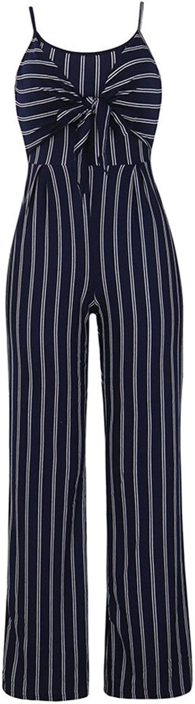 HLIYY Chic Femmes sans Manches Ray/é Combinaison Combi-Short Mesdames Casual Long Combishort Lady Pantalon Large Jambe Outfit Clubwear D/ét/é V/êtements