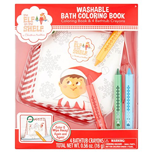 The Elf on the Shelf Washable Bath Coloring Book Coloring Book and 4 Crayons ()