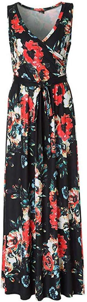 Kolila damska sukienka Boho Maxi damska moda Fold dekolt w serek bez rękawÓw długa sukienka z regulowanym paskiem w talii: Odzież