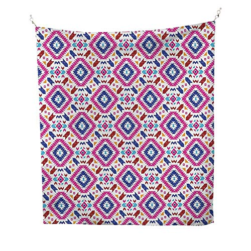 TribaltapestryHand Drawn Style Seamless Pattern with Ethnic Mayan Stripes Art Image 40W x 60L inch Wall tapestryFuchsia Indigo Burgundy