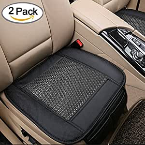 2pc Car Seat Cushion Breathable Rattan Design Pad Covers for Office Chair with PU Leather(Black)