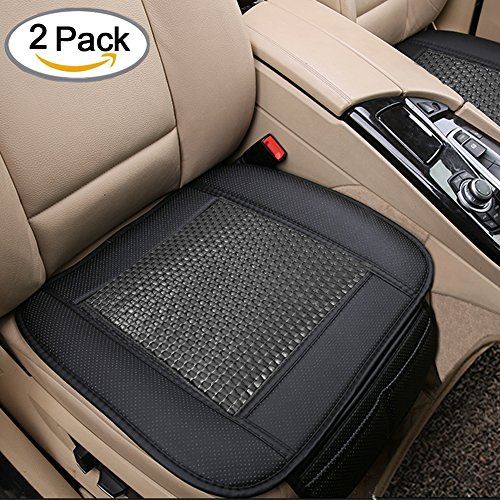 2pc Breathable Rattan Design Car Seat Pad Covers for Office Chair with PU Leather Bamboo Charcoal (Black) (Bamboo Leather Chair)