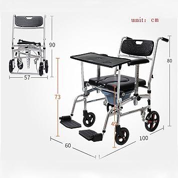 OLD- Aseo de hombre/silla de inodoro de mujer embarazada/silla de rehabilitación hemipléjica Polea plegable de aleación de aluminio de silla de ruedas con ...