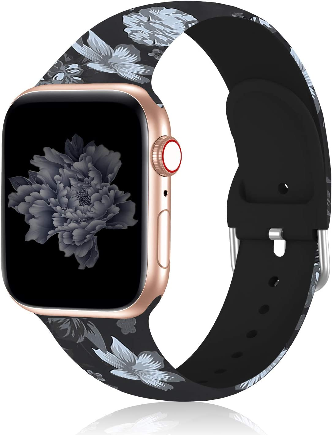 Seizehe Compatible with Apple Watch Band 38mm 40mm Series 3 Series 5, Silicone Floral Pattern iWatch Bands 38mm 40mm Womens Compatible for iWatch SE Series 6 5 4 3 2 1
