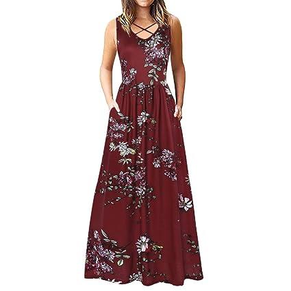 Amazon.com: Women Dresses V-neck Print Maxi Dresses Criss ...