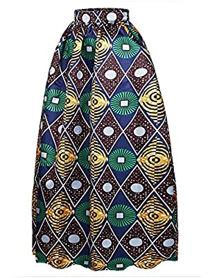 Afibi Women African Printed Casual Maxi Skirt Flared Skirt Multisize A Line Skirt (S-3XL)
