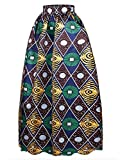 Afibi Women African Printed Casual Maxi Skirt Flared Skirt Multisize A Line Skirt (Medium, Pattern 4)