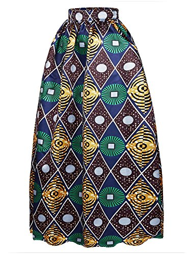 Afibi Women African Printed Casual Maxi Skirt Flared Skirt Multisize A Line Skirt (XXX-Large, Pattern 4) (Printed Maxi Skirt)