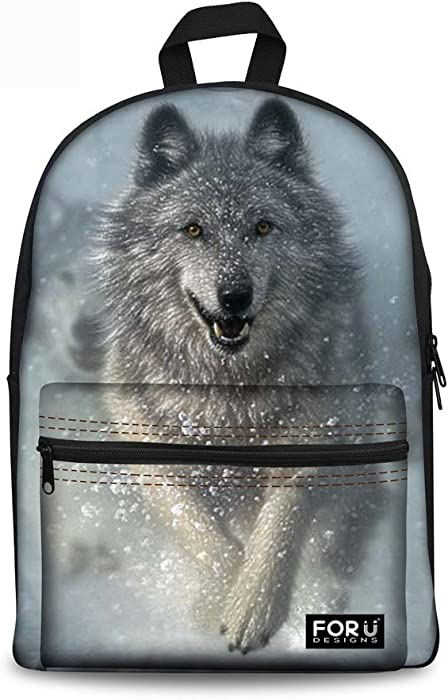 e10484505d FOR U DESIGNS 3D Wolf Face Boys Backpack Kids School Book Bag Travel Bagpack