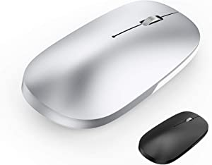 Bluetooth Mouse for MacBook pro iPad pro iPad Air MacBook Air Mac Laptop Win8/10 DELL HP PC (Rechargeable Silver Mouse)
