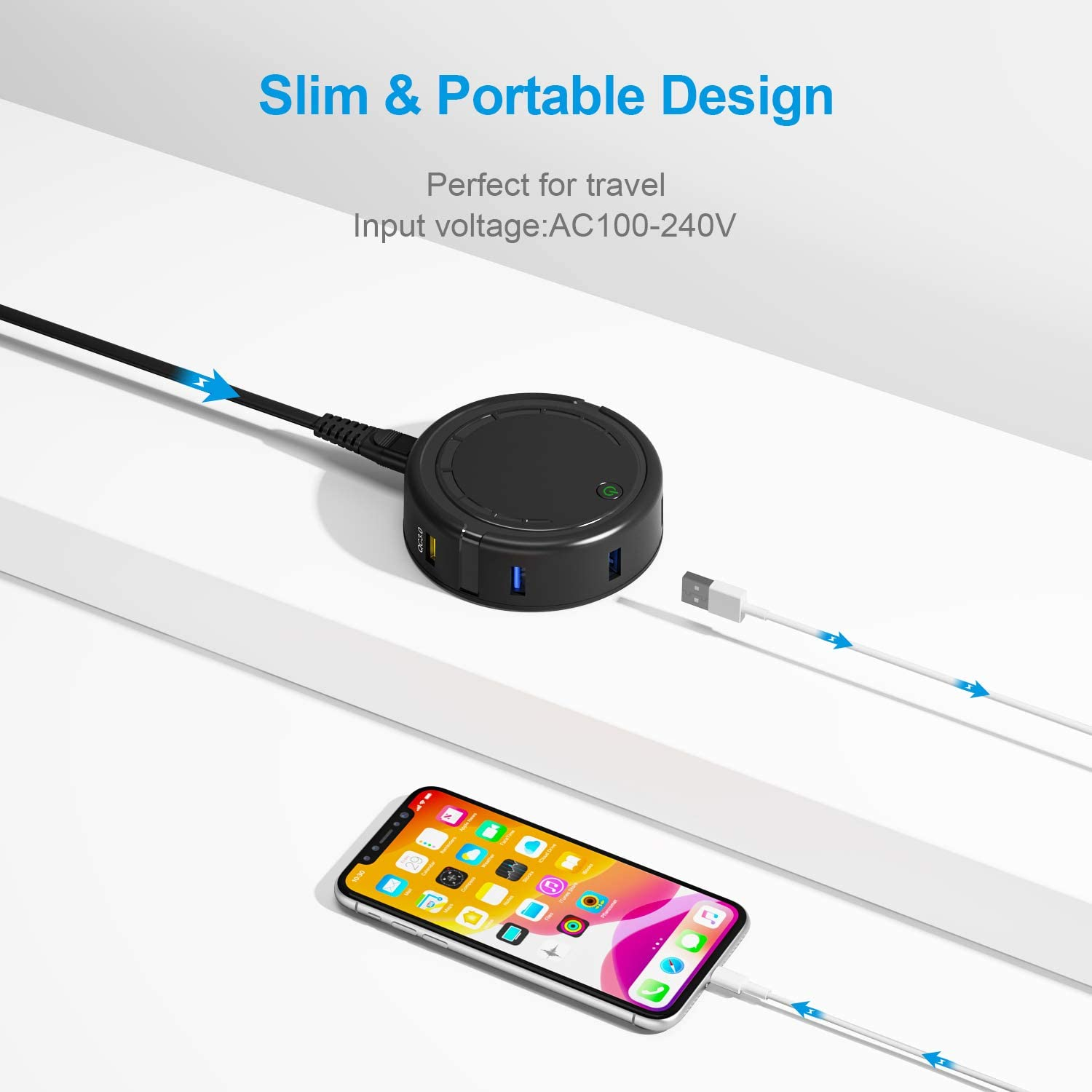 Nexus iPad Pro//Air HTC and More LG 30W USB Wall Charger Bototek Quick Charge 3.0 6-Port USB Charger Desktop Charging Station Dock /& Organizer for Samsung iPhone 11//11 Pro//Max