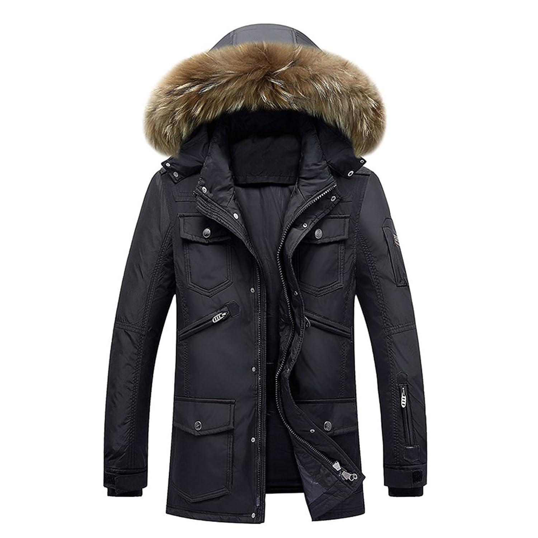 Brinny Warm Gefütterte Herren Parka mit Kapuze Wintermantel Funktionsjacke Übergangsjacke Outdoorjacke Jacke Winterjacke Kapuzenjacke Mantel
