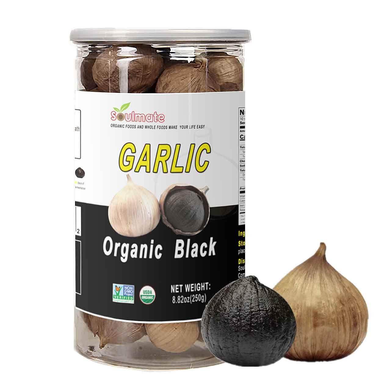 SOULMATE Organic Black Garlic 250g Organic Whole Garlic Fermented 90 Days, NON-GMO Made in California, High in Antioxidants One-Clove Organic Black Garlic 8.82 Ounce (250g)