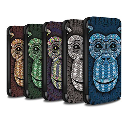 Stuff4 Coque/Etui/Housse Cuir PU Case/Cover pour Apple iPhone 5C / Singe-8 Pack Design / Motif Animaux Aztec Collection