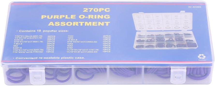 Violet Qiilu 270pcs Kit dAssortiment de Joint Torique d/étanch/éit/é caoutchouc Outil R/éparation Syst/ème Climatisation Auto