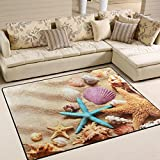 Naanle Summer Ocean Area Rug 5'x7', Starfish Seashells on Sandy Beach Polyester Area Rug Mat for Living Dining Dorm Room Bedroom Home Decorative
