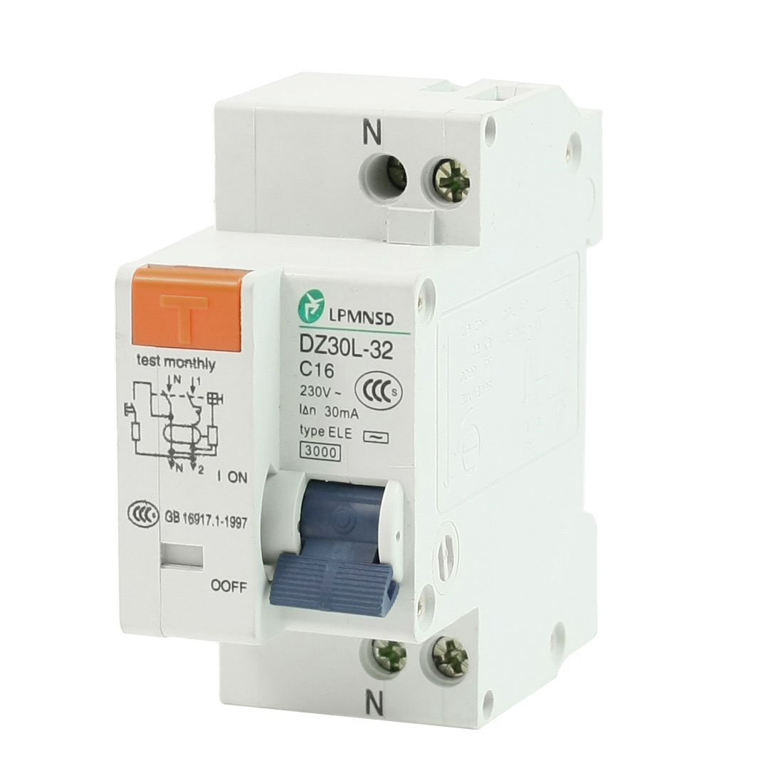 uxcell AC 230V 16A 1 Poles 1P Overload Protection ELCB Earth Leakage Circuit Breaker