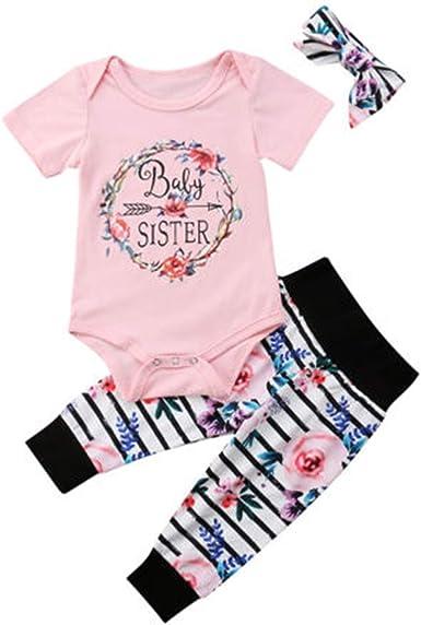 3pcs Cute Newborn Baby Girls Cotton Tops Romper Floral Pants Outfits Set Summer