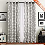 Grey Moroccan Print Curtains for Bedroom- Quatrefoil Flax Linen Blend Textured Geometry Lattice Grommet Window Treatment Set for Living Room - 50