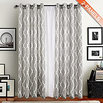 Moroccan Tile Printed Linen Curtains 95 Inch Long For Bedroom /Living Room  Window Drapes