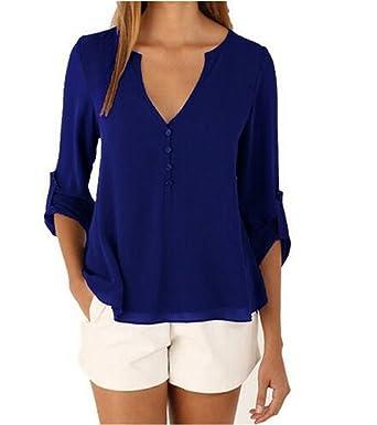 Damen Blusen Sommer Casual V-Ausschnitt Langarm Lose Chiffon Blusenshirt T-Shirt  Tops: Amazon.de: Bekleidung