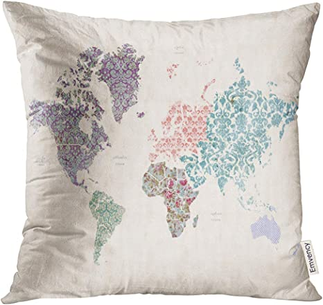 Amazon Com Upoos Throw Pillow Cover Vintage World Map On Linen Canvas With Whimsical Quilt Detail Asia Australia Decorative Pillow Case Home Decor Square 16x16 Inches Pillowcase Home Kitchen
