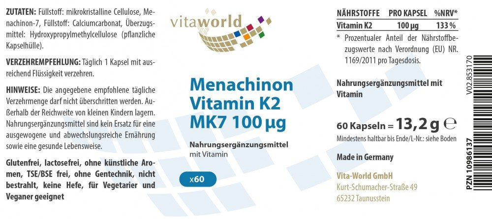 Vita World Menaquinona MK7 Vitamina K2 100µg 60 Cápsulas Vegetales Made in Germany: Amazon.es: Salud y cuidado personal