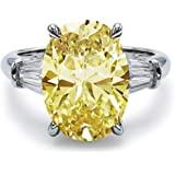 Bo.Dream Rhodium Plated Sterling Silver Canary Yellow Oval Cut Cubic Zirconia CZ 3-Stone Anniversary Engagement Ring 5…