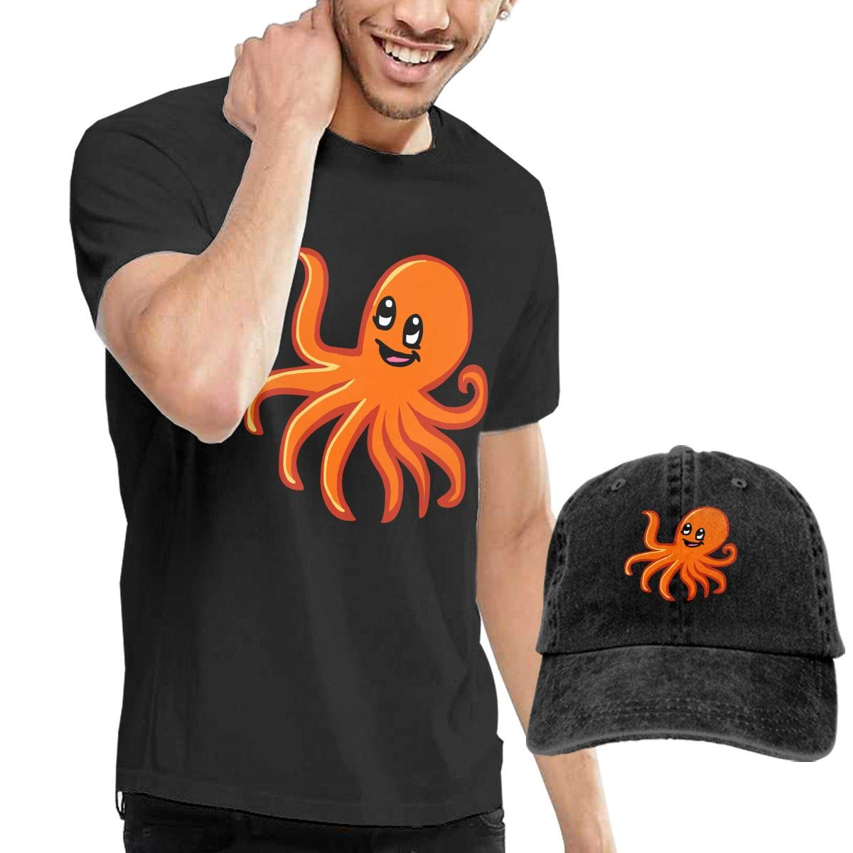 QqZXD Orange Octopus Fashion Mens T-Shirt and Hats Youth /& Adult T-Shirts