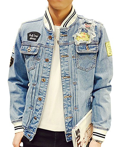 Jacket Denim Varsity - Plaid&Plain Men's Slim Fit Blue Denim Varsity Jacket B-LightBlue XXS