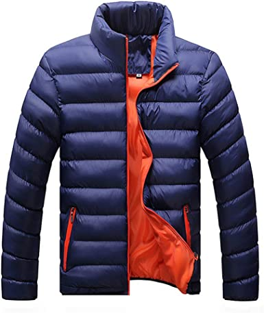 Twcx Mens Thicken Quilted Stand Collar Zipper Hooded Long Down Jacket