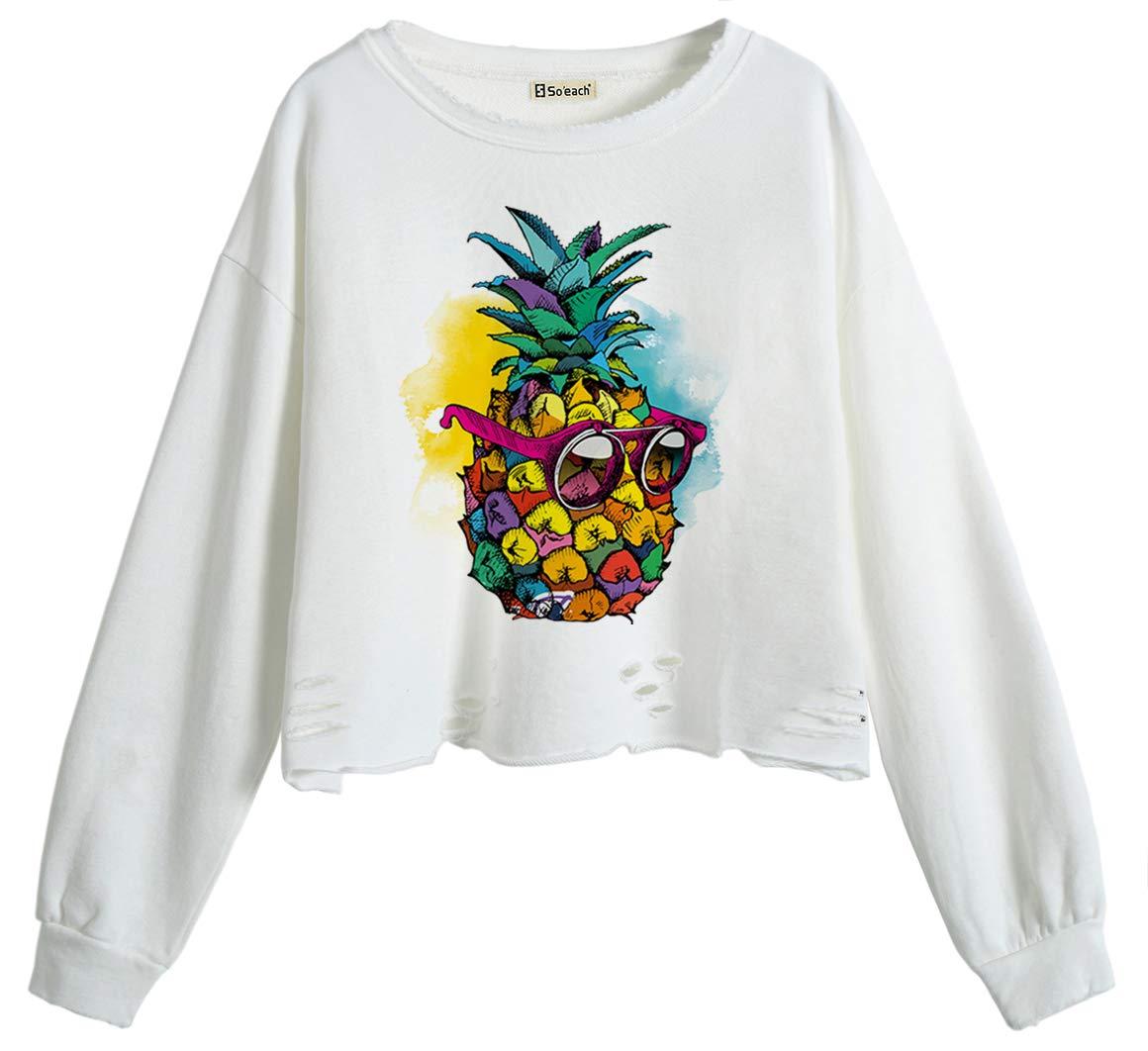 So'each Women Jumper Sweatshirt Sunglasses Pineapple Crop Top White