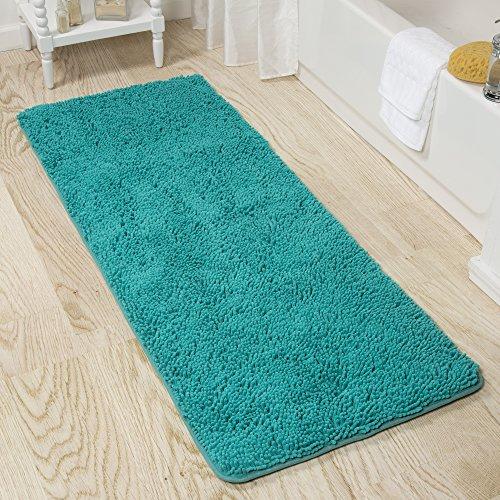 Lavish Home Memory Foam Shag Bath Mat 2-Feet by 5-Feet - Seafoam - Foam Bath Green