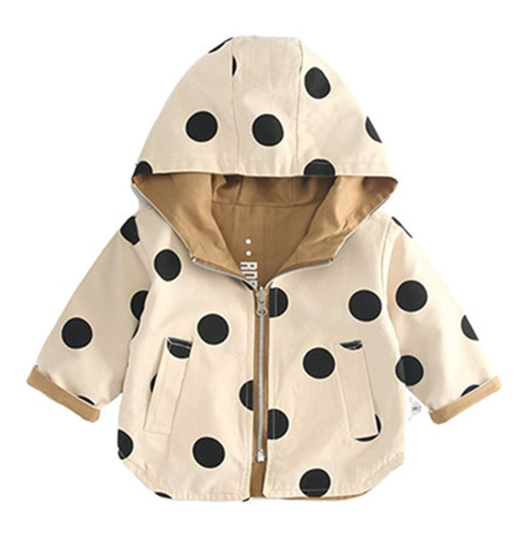 Cotton Kids Children Reversible Dot Zipper Hoodie Coats Baby Boys Girls Jackets