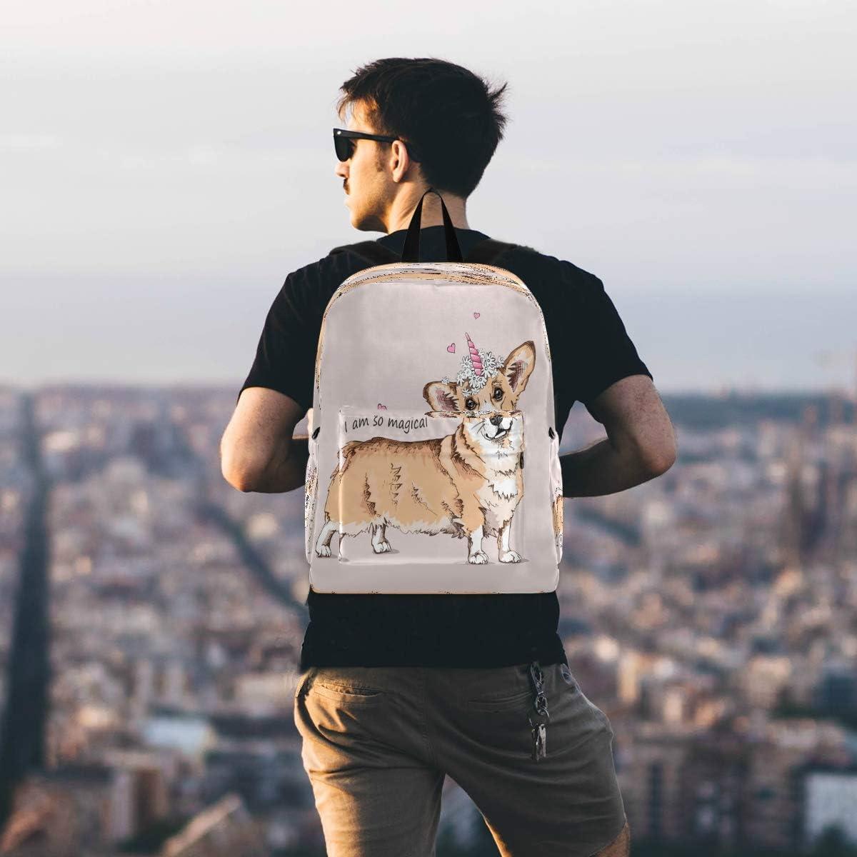 Unicorn Dog Laptop Backpack Bookbag Puppy Pug Pet Heart Travel Backpacks Casual Daypack Workbag Shoulders Bag Sports Bags for Women Men Working Hiking Outdoor