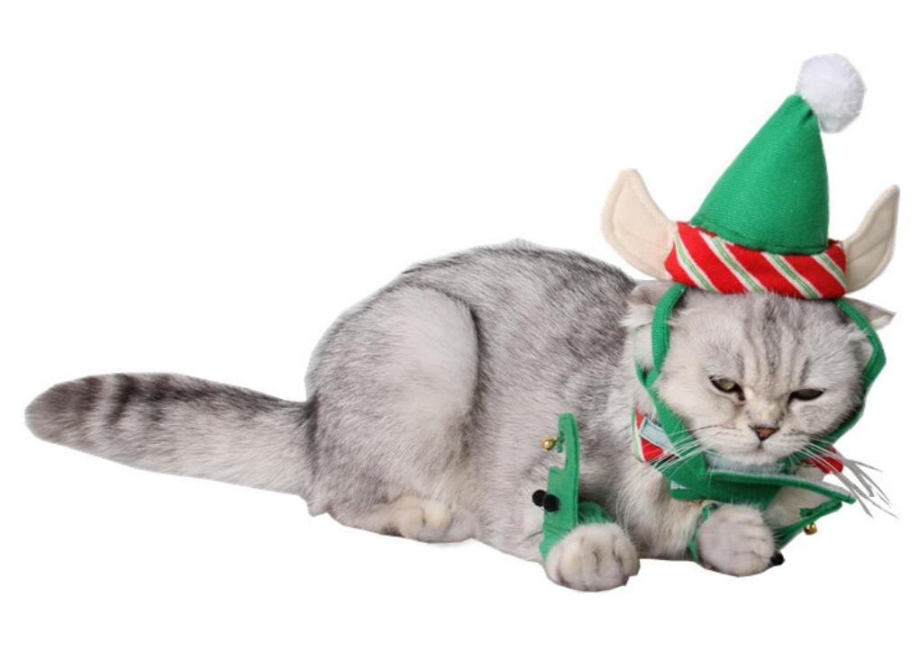 ANIAC Cute Cat Dog Christmas Costume Xmas Clothes Green Elf Outfit for Small Pets