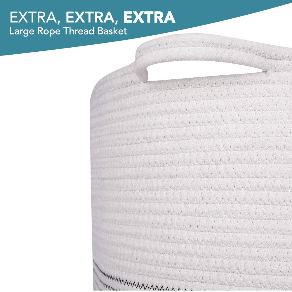 "ClassyStylez XXX Large Rope Blanket Cotton Storage Basket 21.7/"" x 21.7/"" x 13.8/"" Collapsible Woven Laundry Hamper Basket with Handles QJMAX"